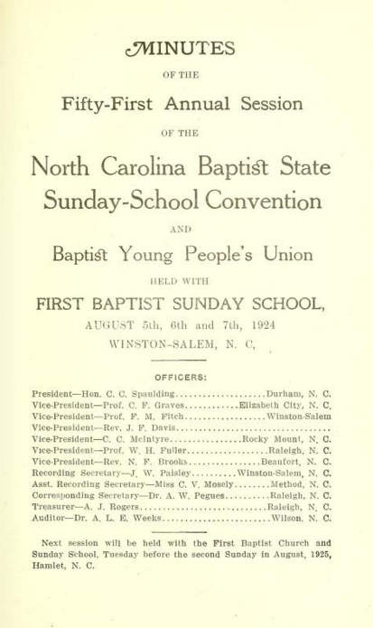 Sunday school delegates