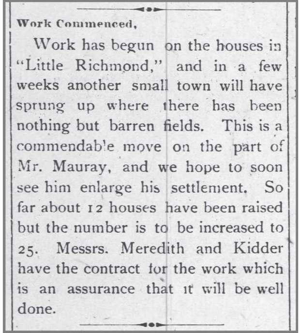 Wilson_Advance_6_11_1896_work_begun_at_Little_Richmond