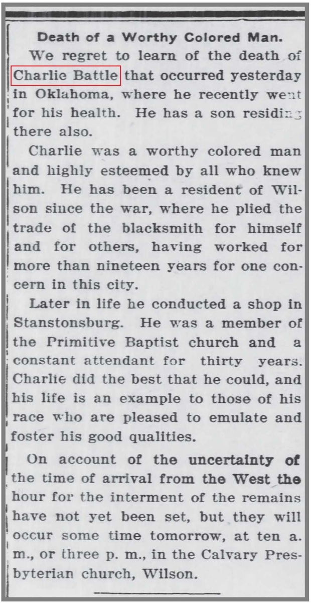 Wilson_Daily_Times_9_16_1910_Charlie_Battle_death