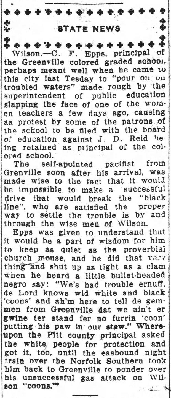 Wilmington Dispatch 4 23 1918 JD Reid