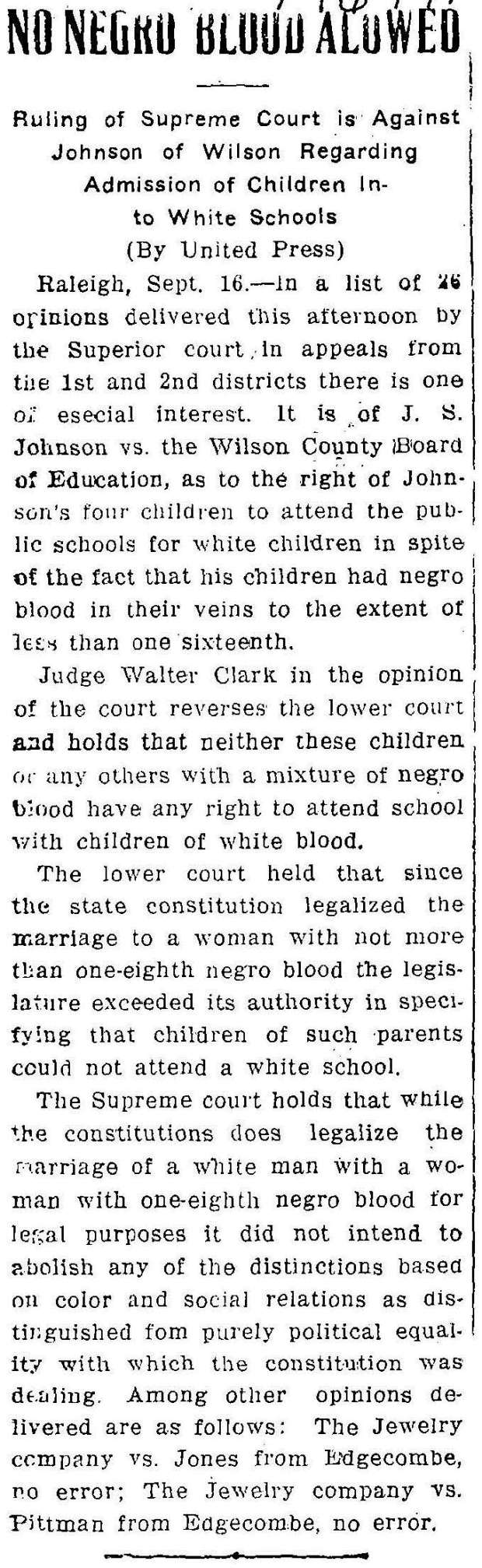 JOHNSON -- WDT 9 16 1914 No Negro Blood Allowed