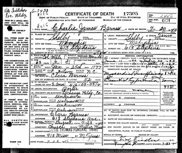 where did they go?: tennessee death certificates, no. 2. | black ...