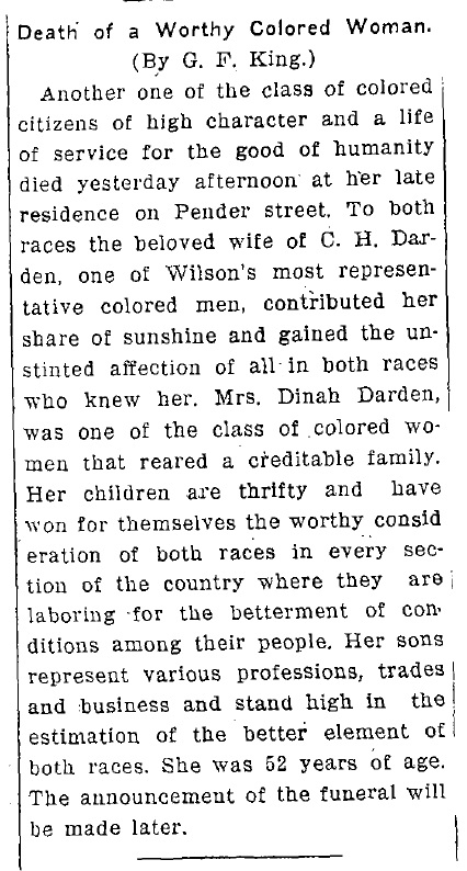 WDT 3 1 1913 Dinah Darden obit