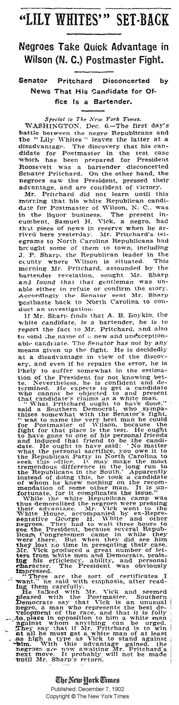 NY Times 12 7 1902 Vick