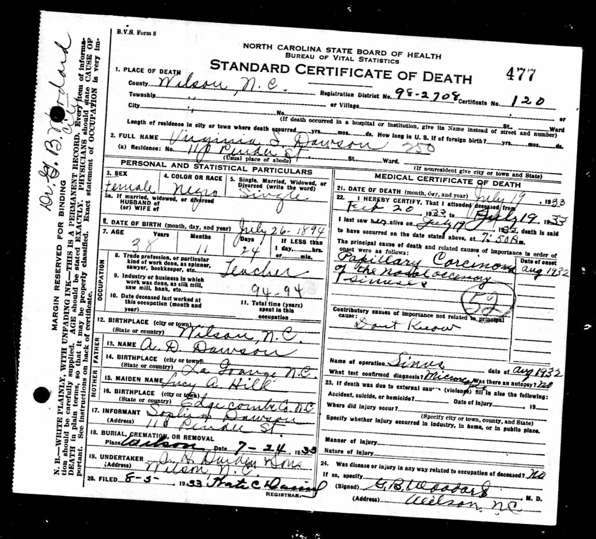 Death certificate black wide awake edith omega carter spicer aiddatafo Gallery