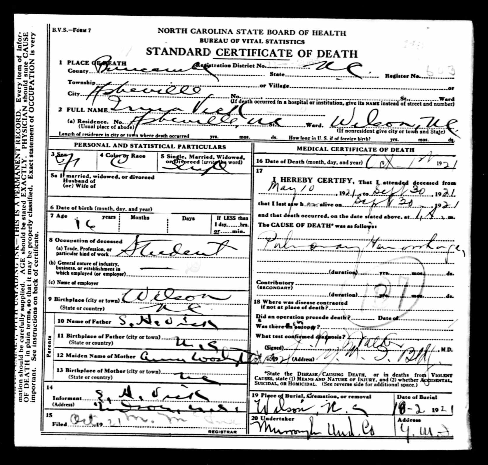 Death Certificate Black Wide Awake